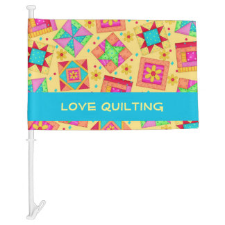 Yellow Love Quilting Patchwork Quilt Blocks Custom Car Flag