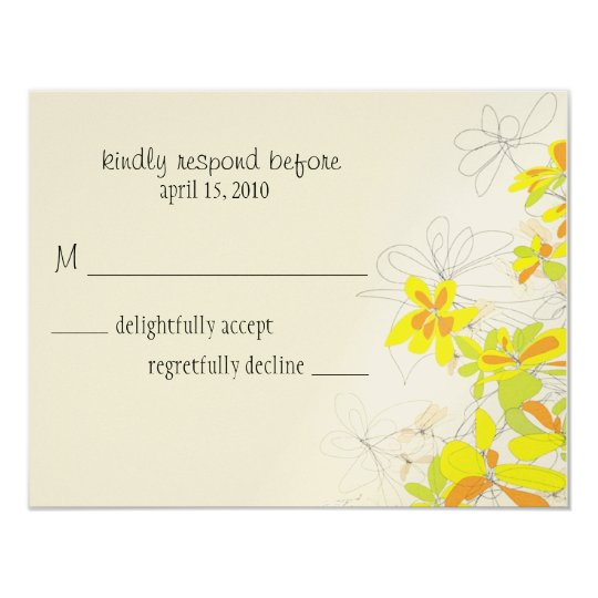 yellow love rsvp card