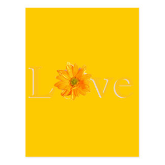 """Yellow """"Love"""" with yellow daisy Postcard"""