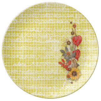 Yellow Love Words Cake Plate Porcelain Plate