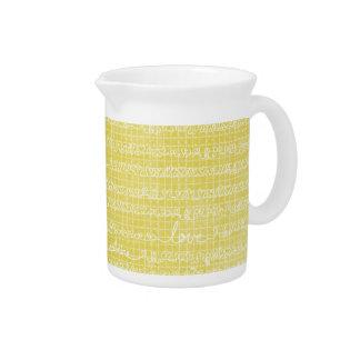 Yellow Love Words Pitcher Creamer Kitchen Tea