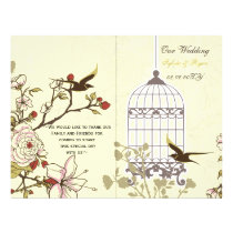 yellow lovebirds  bircage bi fold Wedding program