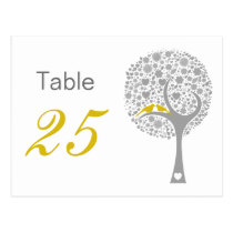 Yellow Lovebirds Whimsical Wedding table numbers