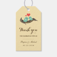 Yellow Lovebirds with Small Heart Wedding Gift Tag