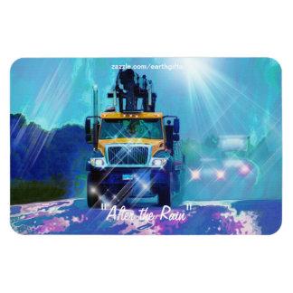 Yellow Lumber Truck in Rainshower Art Magnet