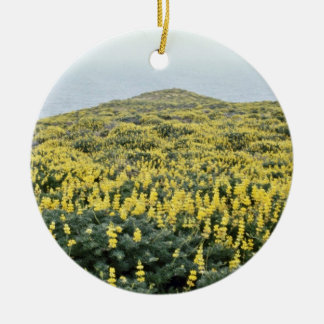 Yellow Lupine And Pacific, Tomales Point flowers Christmas Ornament
