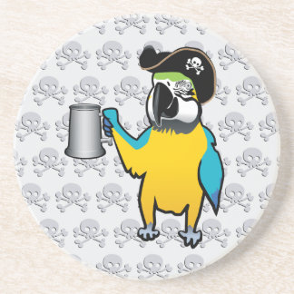 Yellow Macaw Pirate Parrot with a tankard Drink Coaster