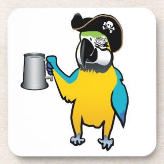 Yellow Macaw Pirate Parrot with a tankard Coaster