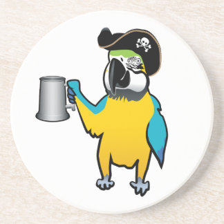 Yellow Macaw Pirate Parrot with a tankard Beverage Coaster