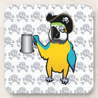 Yellow Macaw Pirate Parrot with a tankard Beverage Coasters