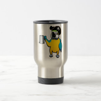 Yellow Macaw Pirate Parrot with a tankard Coffee Mug
