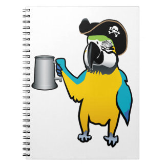 Yellow Macaw Pirate Parrot with a tankard Notebooks
