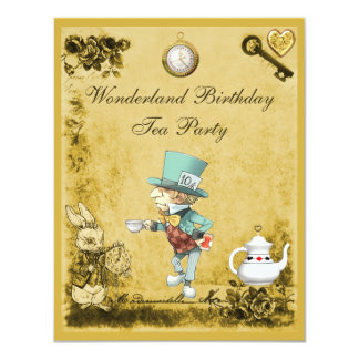 Yellow Mad Hatter Wonderland Birthday Tea Party Card