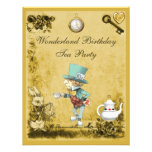 Yellow Mad Hatter Wonderland Birthday Tea Party Personalized Announcement