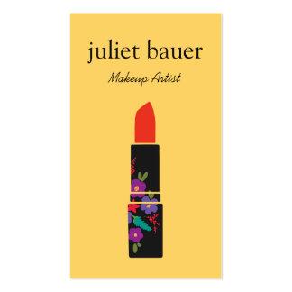 Yellow Makeup Artist Floral Lipstick Logo Beauty Business Card