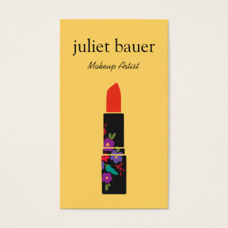 Yellow Makeup Artist Floral Lipstick Logo Beauty Business Card