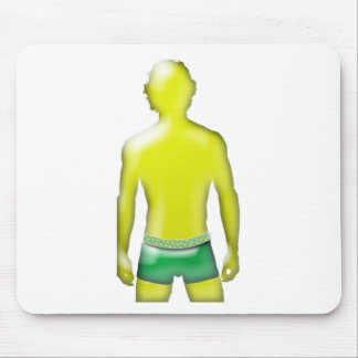 Yellow Man with Green Underwear Mouse Pad