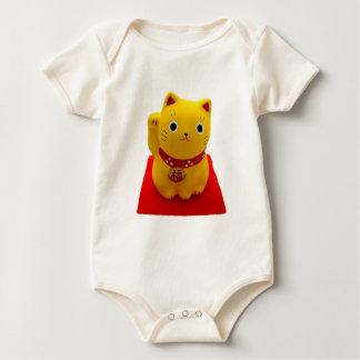 Yellow Maneki Neko on a Red Carpet Baby Bodysuit