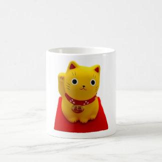 Yellow Maneki Neko on a Red Carpet Coffee Mug