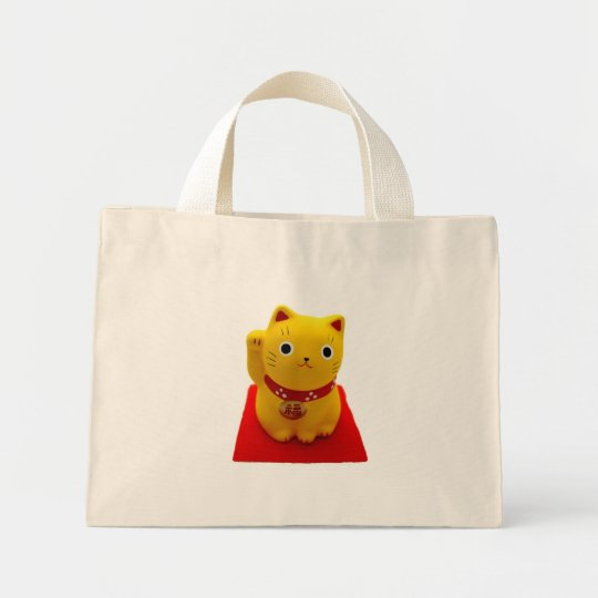 Yellow Maneki Neko on a Red Carpet Mini Tote Bag