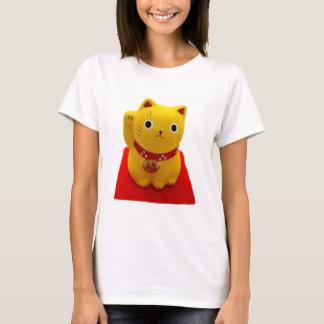 Yellow Maneki Neko on a Red Carpet T-Shirt