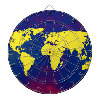 yellow map of the world dartboard with darts