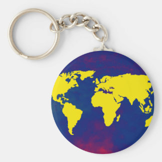 yellow map of the world keychains