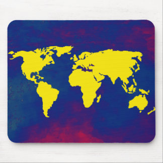 yellow map of the world mouse pad