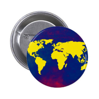 yellow map of the world pinback button