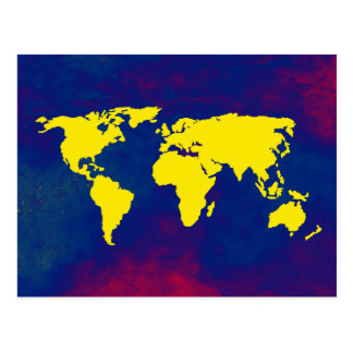 yellow map of the world postcard