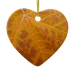 Yellow Maple Leaf Autumn Abstract Nature Ceramic Ornament