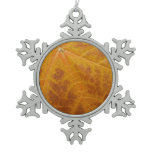 Yellow Maple Leaf Autumn Abstract Nature Snowflake Pewter Christmas Ornament