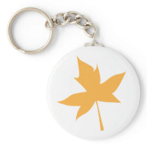 Yellow Maple Leaf Keychain