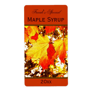 yellow maple leaves maple syrup canning label shipping label