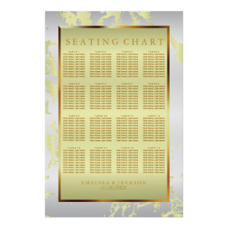 Yellow Marble, Gold and White Satin -Seating Chart
