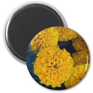 Yellow Marigolds 2 Inch Round Magnet