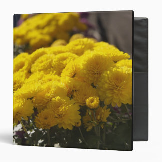 Yellow marigolds bask in sunlight 3 ring binder