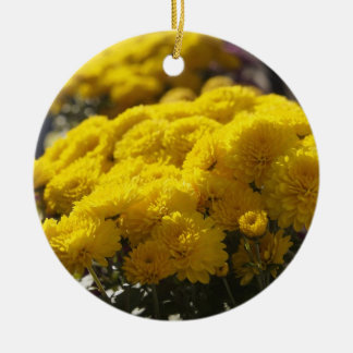 Yellow marigolds bask in sunlight ceramic ornament