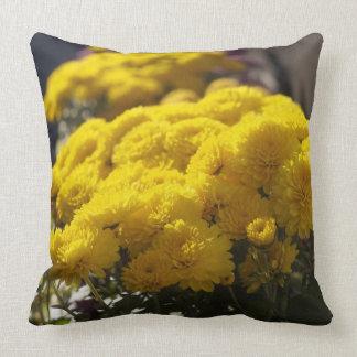 Yellow marigolds bask in sunlight pillow