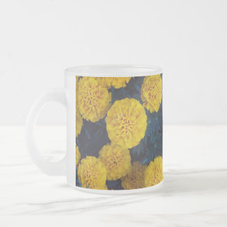 Yellow Marigolds Frosted Glass Coffee Mug