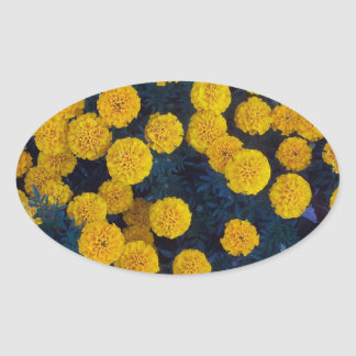 Yellow Marigolds Oval Sticker