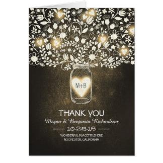 Yellow mason jar floral wedding thank you card