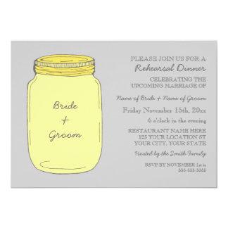 Yellow Mason Jar Wedding Rehearsal Dinner Party 5x7 Paper Invitation Card