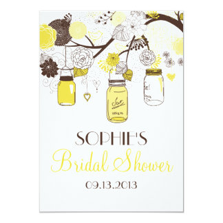 "Yellow Mason Jars Floral Bridal Shower Invitation 5"" X 7"" Invitation Card"