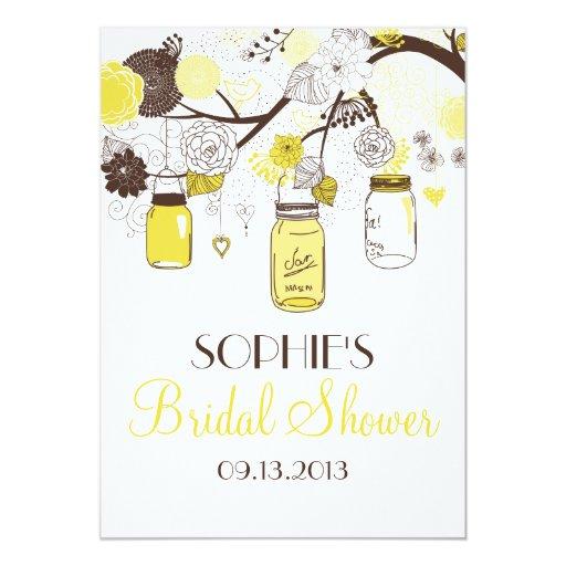 Yellow mason jars floral bridal shower invitation zazzle for Yellow bridal shower invitations