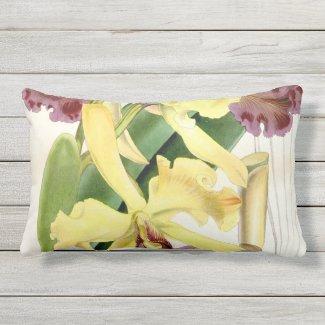 Yellow Mauve Cattleya Orchid Lumbar Outdoor Pillow