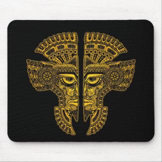 Yellow Mayan Twins Mask Illusion on Black Mouse Pad