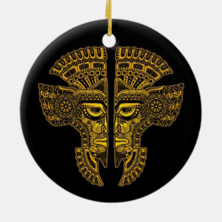 Yellow Mayan Twins Mask Illusion on Black Double-Sided Ceramic Round Christmas Ornament