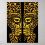 Yellow Mayan Twins Mask Illusion on Black Poster