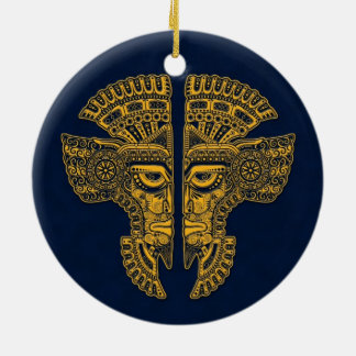 Yellow Mayan Twins Mask Illusion on Blue Double-Sided Ceramic Round Christmas Ornament